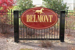 Belmont carved sign with gold leaf