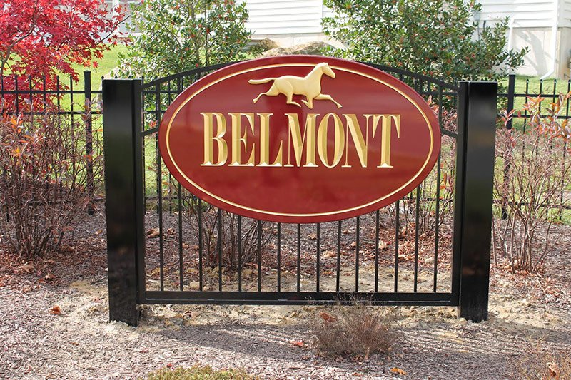 Belmont carved sign with gold leaf