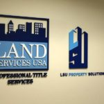 Dimensional wall lettering to showcase this office for Land Services
