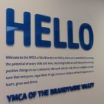 Clear laser cut acrylic letters back laminated with blue vinyl and vinyl wall graphics - West Chester, PA