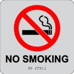 """6"""" x 6 """" Standard ADA Acrylic No Smoking Sign with Raised Lettering, Logo and Rasters. ADA Compliant installed in Downingtown, PA."""