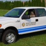 Municipal township truck lettered with reflective vinyl graphics and stripes