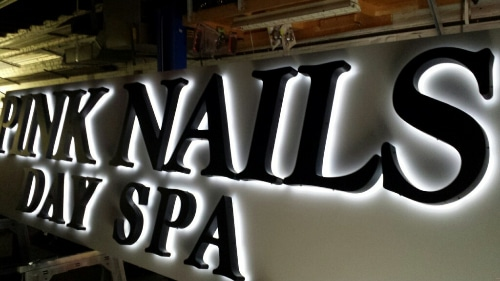 Reverse Backlit Channel Letters installed in Broomall, PA