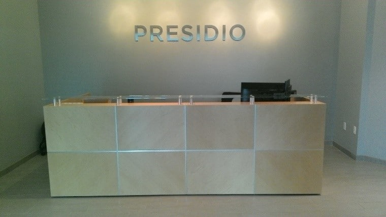 Brushed stainless aluminum letters for the reception wall