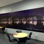 Vinyl wide format view of Boathouse Row in Philadelphia