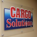 Frosted acrylic panel w/ aluminum stand-offs and digitally-printed graphics