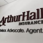 Arthur Hall Insurance Dimensional Letter Reception Sign