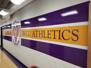wide format digitally printed display in WCU athletic arena