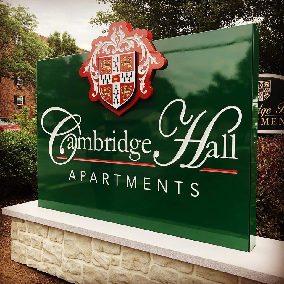 Aluminum and HDU Carved Sign - Cambridge Hall Apts West Chester PA