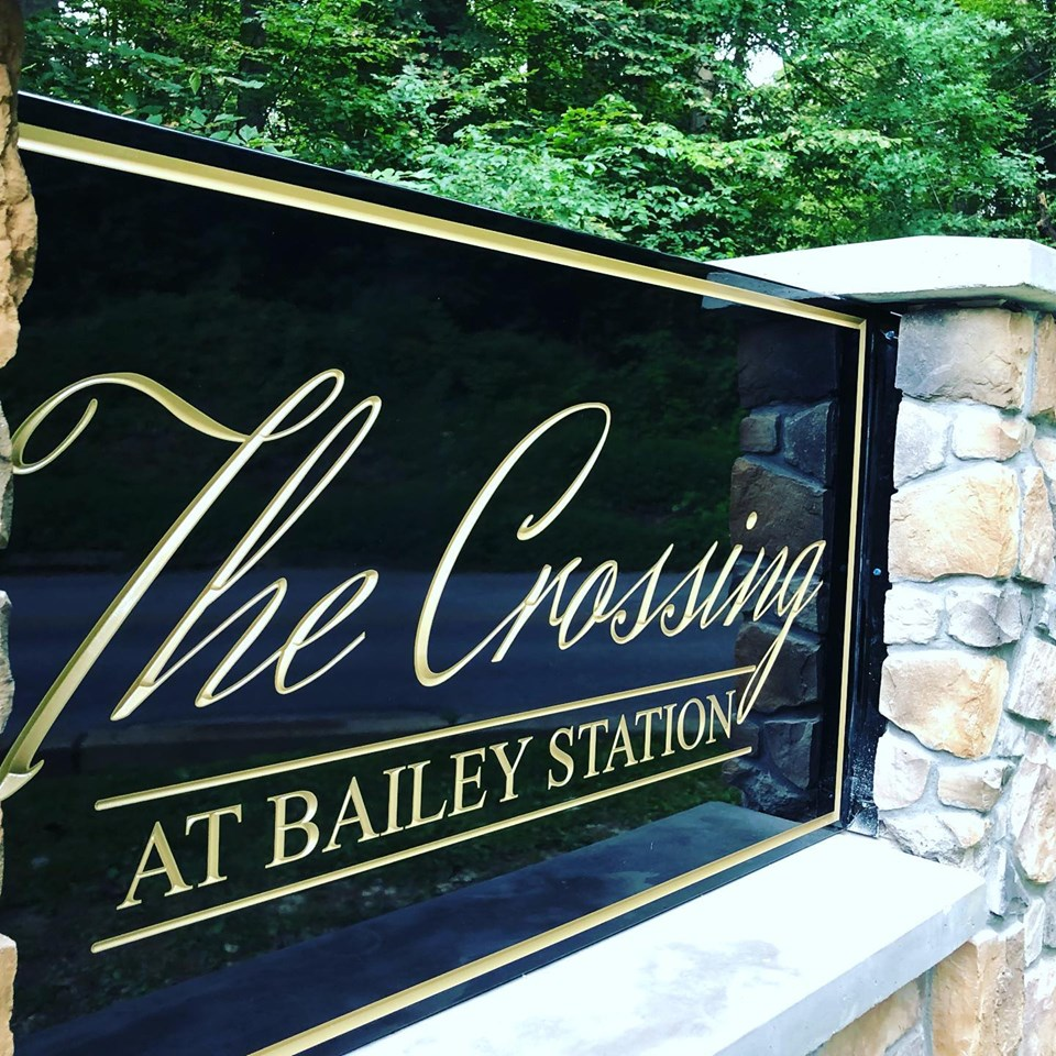 HDU Carved Sign - Fieldstone Monument - Crossing at Bailey Station PA