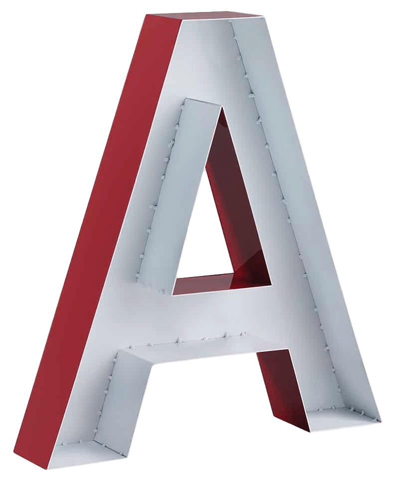 Fabricated aluminum letter red